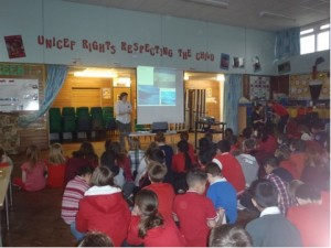 Interested schoolchildren learning about polar regions.